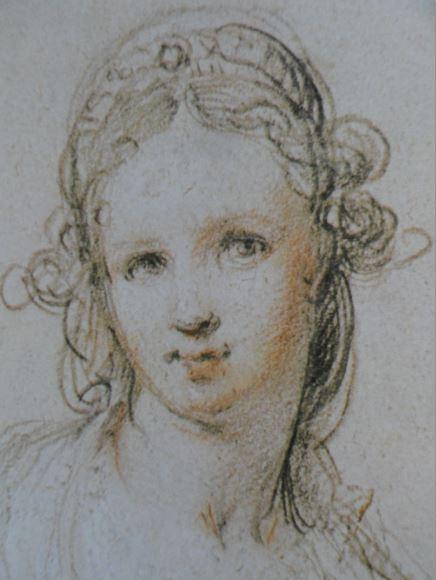 María Magdalena. Piedra negra y blanca y sanguina sobre papel gris. Hendrick Goltzius. ss. XVI y XVII. Hermitage.