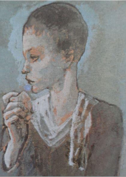 Niño con un perro. Goauche. 1905. Picasso.Detalle.