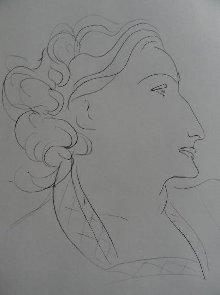 Perfil de Mujer. Lápiz negro. Henri Matisse. Hermitage.