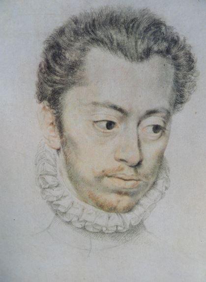 Retrato de Etienne Dumoustier. Tiza negra y roja. Pierre Dumoustier.   ss XVI  y XVII. Hermitage.