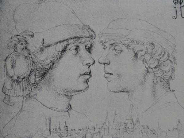 Retrato de Hans y Ambrosio Holbein por su padre Hans Holbein el Viejo. Punta de plata sobre papel blanco. ca. 1514. Hermitage.