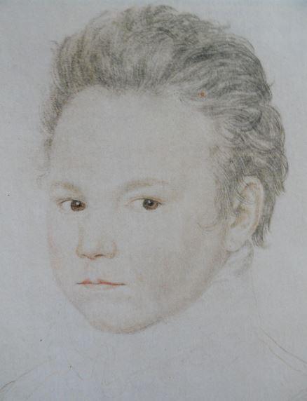 Retrato de joven con ojos marrones. Tiza negra y roja. Anónimo francés  1558. Hermitage.