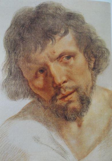 Retrato de joven. Guido Reni. Tiza negra y roja. ss XVI y XVII. Hermitage.