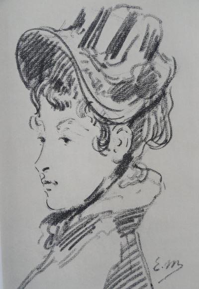 Retrato de Madame Jules Guillemet. Lapiz italiano. Édouard Manet. Hermitage.