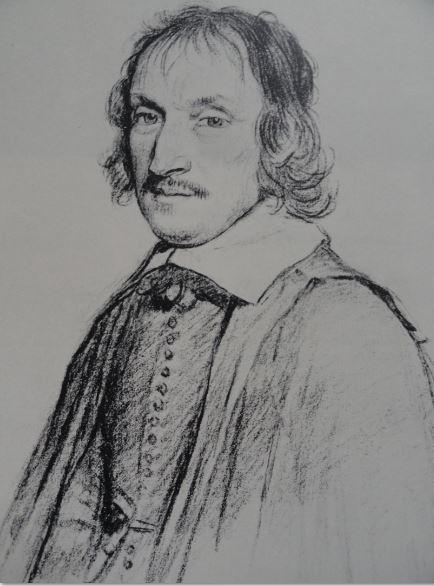 Retrato de Michel de Marolles. Tiza negra.Claude Mellan.s.XVII.  Hermitage.