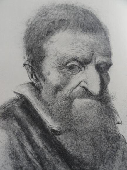 Retrato de un anciano. Tiza negra y roja. Lagneau. ss.XVI y XVII.  Hermitage.