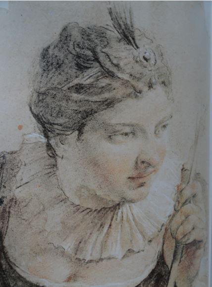 Retrato de una actriz en el papel de Diana. Piedra negra y blanca y sanguina. Giovanni Battista Piazzetta. siglo XVII. Hermitage.