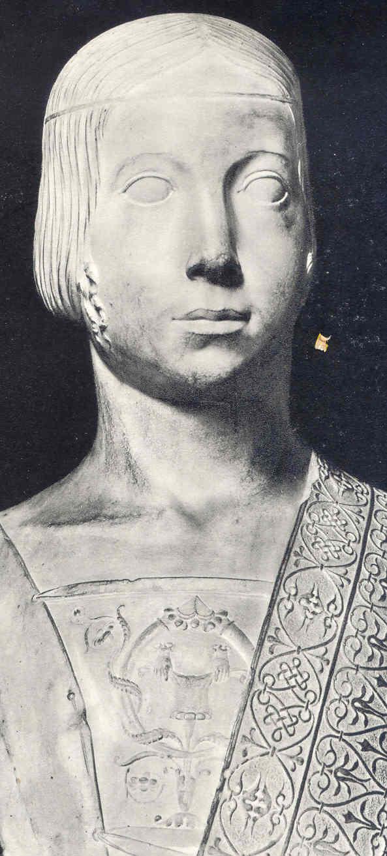 Beatrice d'Este. Atribuida a Gian Cristoforo Romano. hacia 1490. Museo del Louvre