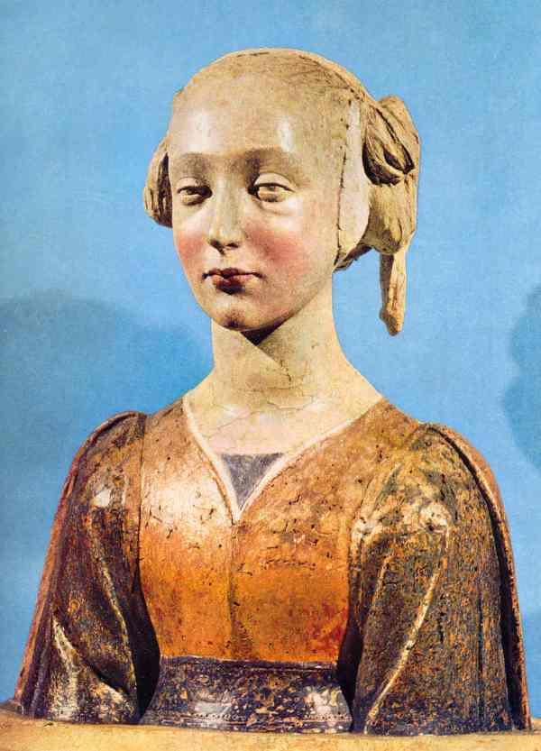 Busto de mujer. Florencia s.XV. Madera estucada y policromada. Museo del Louvre