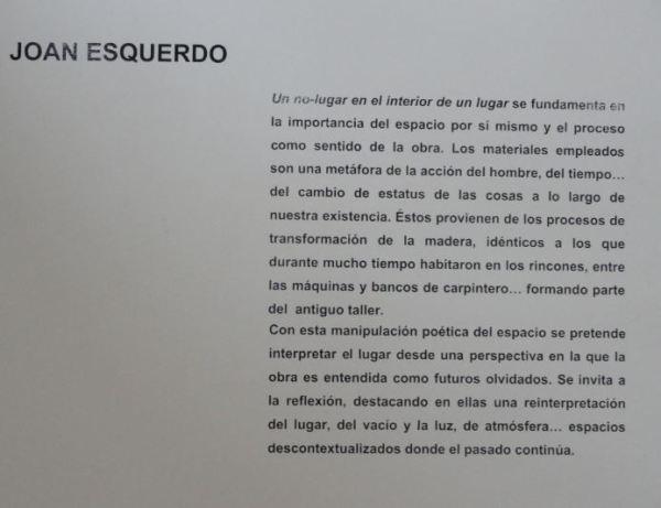 Exposicion de Joan Esquerdo. La idea. Centro Germans Ivars. Benissa. Foto R.Puig