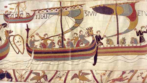 La flota normanda cruza el canal la noche de San Miguel de 1066. Tapiz de Bayeux
