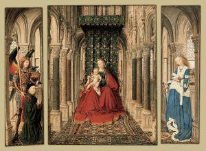 Jan van Eyck. Triptico de María y el niño con San Miguel y Santa Catalina