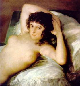 La maja desnuda.Detalle.Goya. Museo del Prado