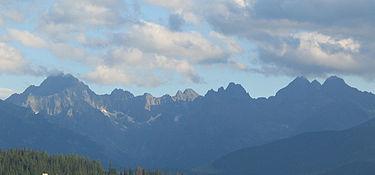 Los montes Tatra desde la vertiente polaca. Wikipesia.