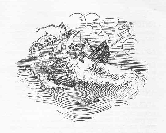 Naufragio. Ilustracion de Albert Puyplat. Colloques d'Érasme. L'enseigne du pot cassé.1934