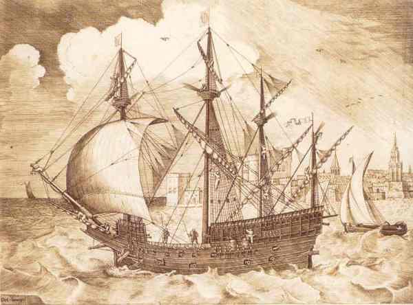 Navio zarpando. Grabado de Franz Huys basado en dibujo de Bruegel. Biblioteca Real de Bruselas