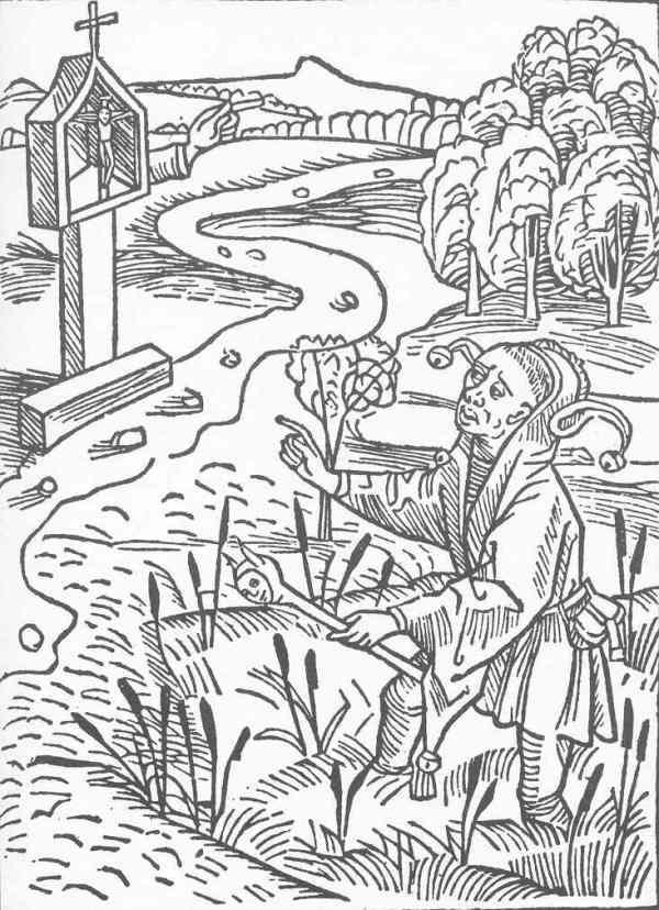 Peregrino empantanado. La nave de los necios de Sebastian Brant.1494. Xilografía de Durero.