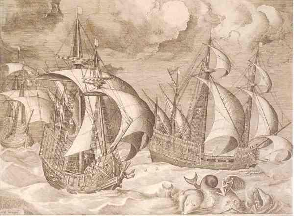 Tres carabelas. Grabado de Franz Huys basado en dibujo de Bruegel. Biblioteca Real de Bruselas.jpg