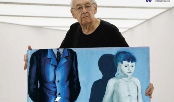 Andrzej Wajda en la exposición Wroblewski por Wajda. Museo Manggha. Cracovia 2015