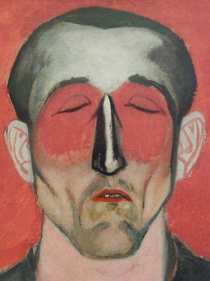 Wróblewski. Cabeza de hombre sobre fondo rojo. Detalle. 1957 Foto R.Puig.