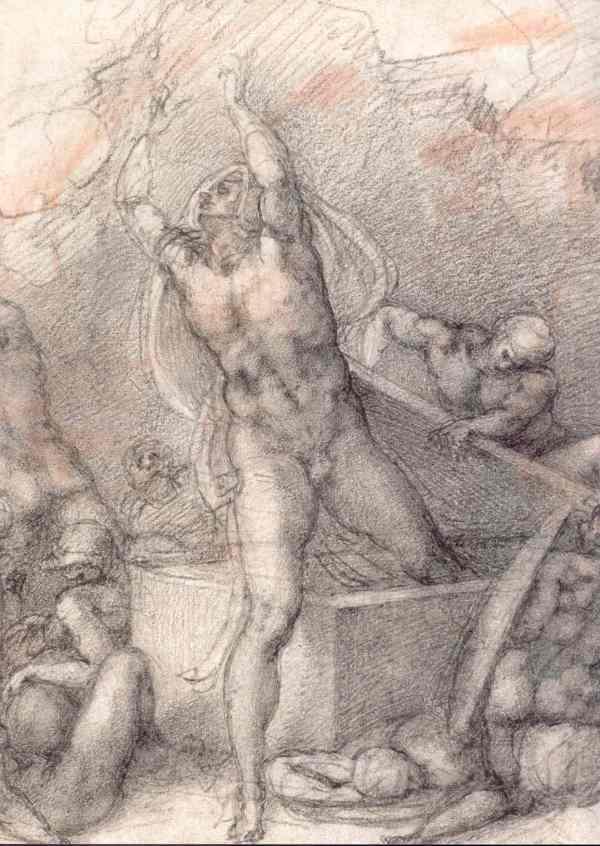 Resurrección. Detalle, Miguel Ángel. c. 1532. Windsor Royal Collection