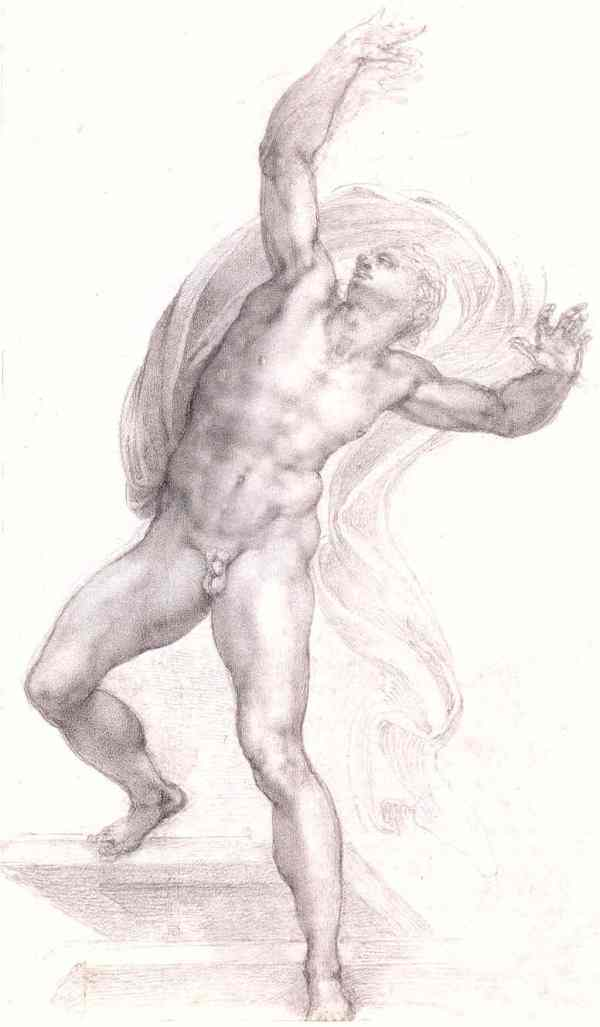 Cristo resucitando, Miguel Ángel. c. 1532 a 1533. Windsor Royal Collection.