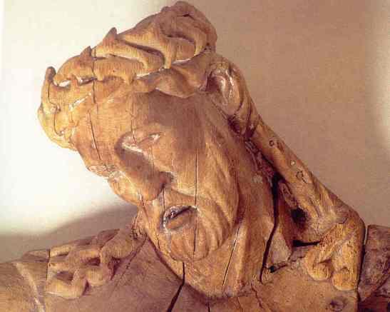 Cabeza del crucifijo de la iglesia de Hablingbo. Gotland. Artista sajon. Entre1230 y 1275.. Fuente Joanna Wolska