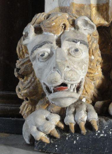 Iglesia de Löderup. El león de San Marcos en el retablo del siglo XVIII. Foto R.Puig.
