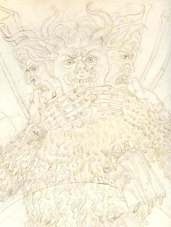 Botticelli. Inferno XXXIV. Detalle.. Museos Estatales de Berlin.