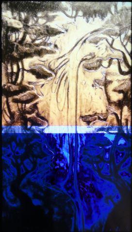 Nathalie Djuberg y Hans Berg. Variaciones de una cascada. Flautas.  HD Video. a. 2015. Lissom Gallery y los artistas. Art Now. Museo Sven Harrys. Foto R.Puig