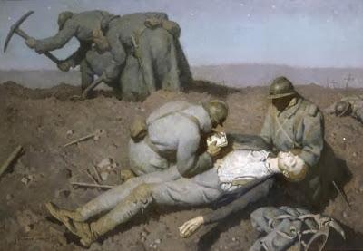 Georges Paul Leroux. Slodados enterrando a un camarada. 1915. weimarart.blogspot.se