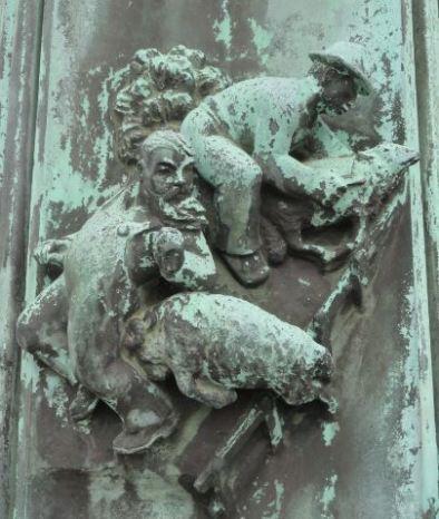 La Casa del Mundo. Pedestal de la enseña. Esquiladores de las pampas. . Gotemburgo. Foto R.Puig