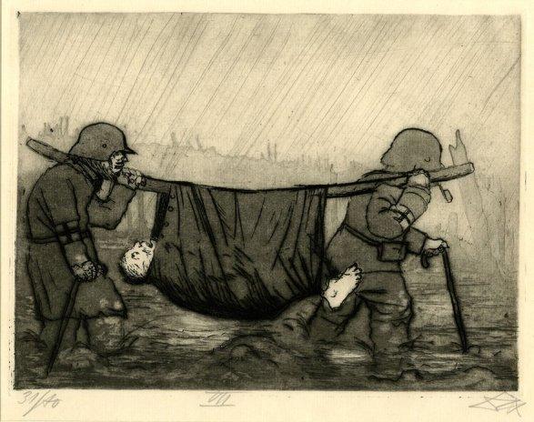Otto Dix. Transporte de un herido. Grabado. 1924.British Museum