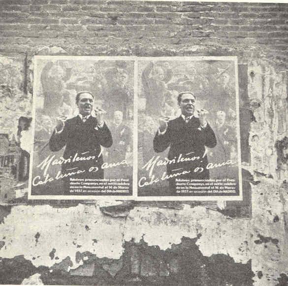 """Companys a los madrileños. """"Cataluña os ama"""". Madrid. Allan Vougt. Moskva Madrid. Stockholm 1938."""