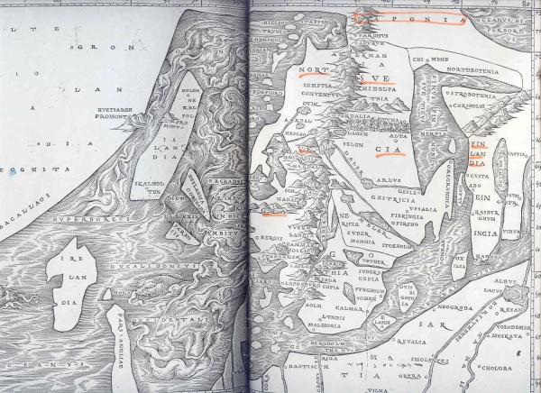 El mapa de Jacob Ziegler. De Regionibus Septentrionalibus. Estrasburgo 1532