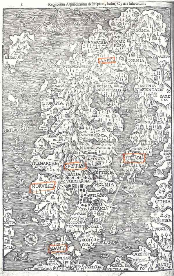 El mapa de Olaus Magnus. Roma 1555.