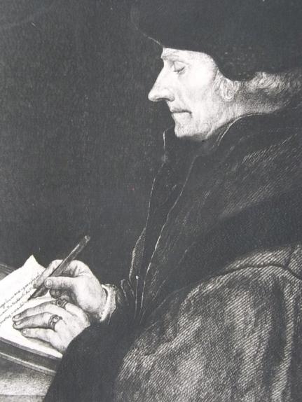 Erasmo de Rotterdam. Grabado francés de fines del siglo XIX a partir del retrato de Hans Holbein