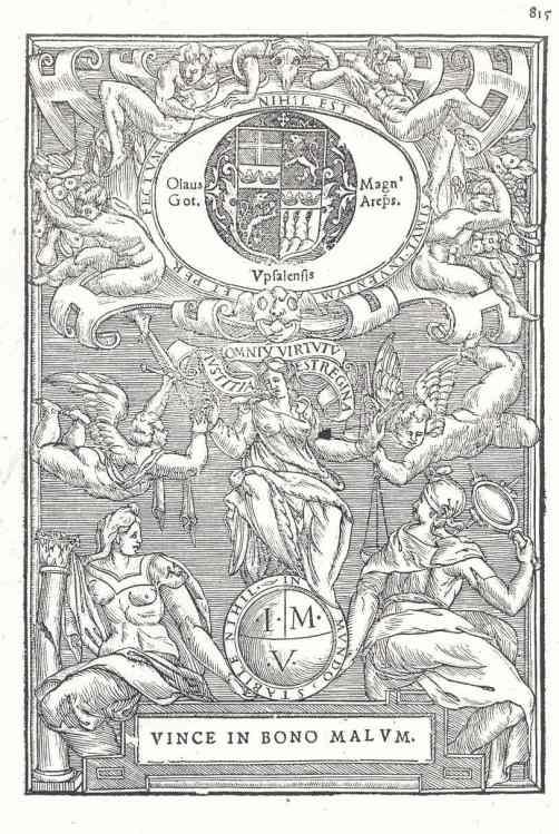 Escudo y lema de Olaus Magnus. Arzobispo de Upsala exiliado en Roma.