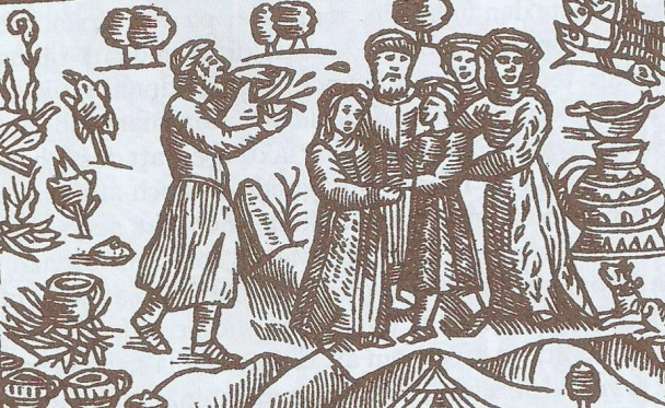 Xilograbado en Olaus Magnus Historia de Gentibus Septentrionalibus, Roma 1555. Boda en Laponia