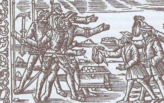 Olaus Magnus Historia. Hombres armados extorsionando