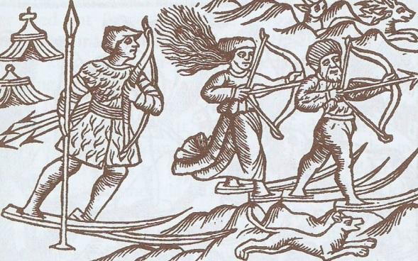 Olaus Magnus Historia. Lapones cazando