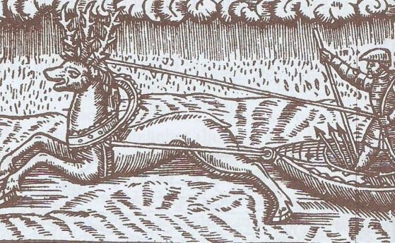 Xilograbado en Olaus Magnus Historia de Gentibus Septentrionalibus, Roma 1555. Trineo tirado por un reno.