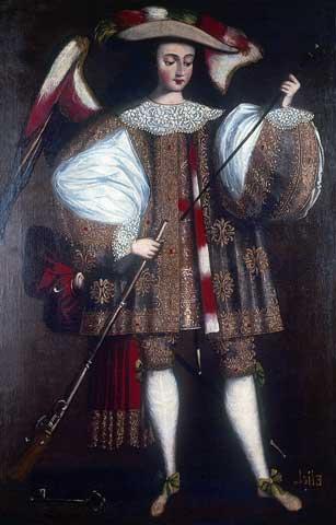 El arcángel con arcabuz. Escuela cuzqueña ss.XVII a XVIII. Museo de Arte de Lima