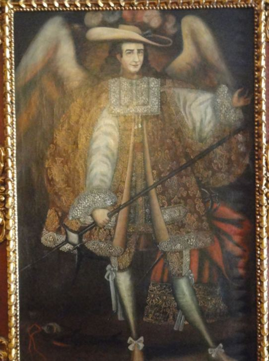 El Sr.Jiménez en arcángel virreinal. Foto R.Puig