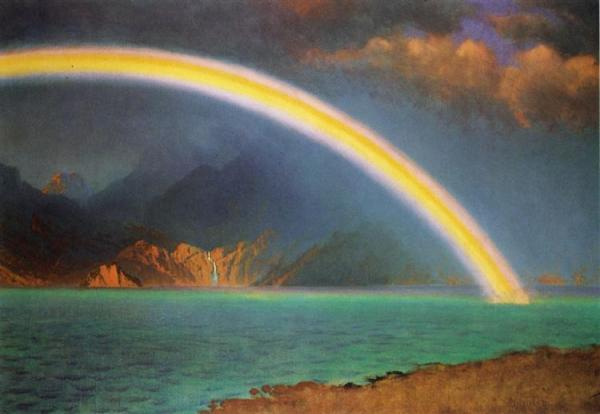 Albert Bierstadt. Rainbow over Jenny Lake. Wyoming.U.S.Public domain