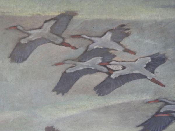 Bandada de cigüeñas. Detalle de un cuadro de Ernst Norlinds. Foto R.Puig