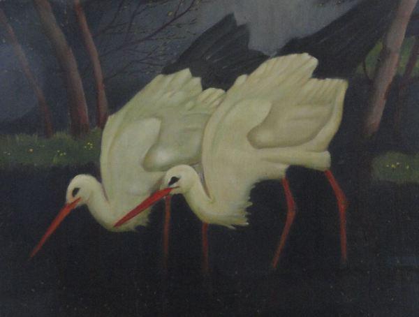 Cigüeñas. Detalle de un cuadro de Ernst Norlinds. Foto R.Puig