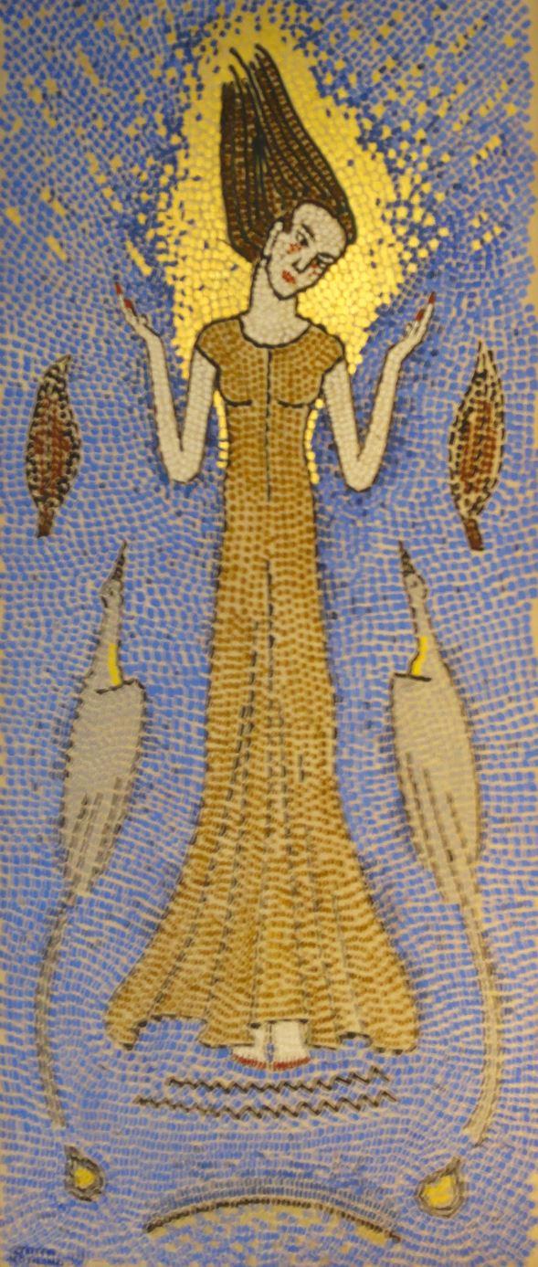 Figura ascendente con cigüeñas.por Staffan Norlinds.Borgeby. Foto R.Puig