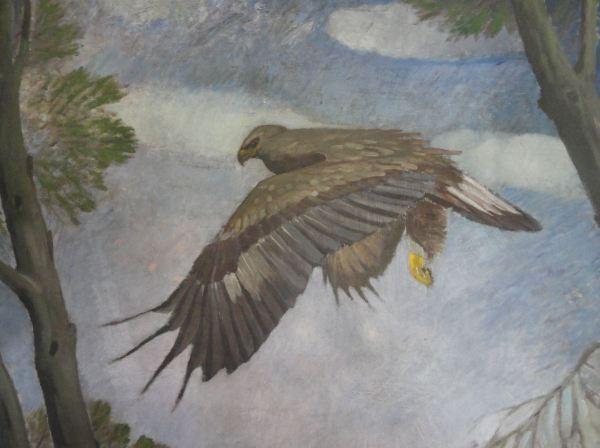 Halcón. Detalle de un cuadro de Ernst Norlinds. Foto R.Puig