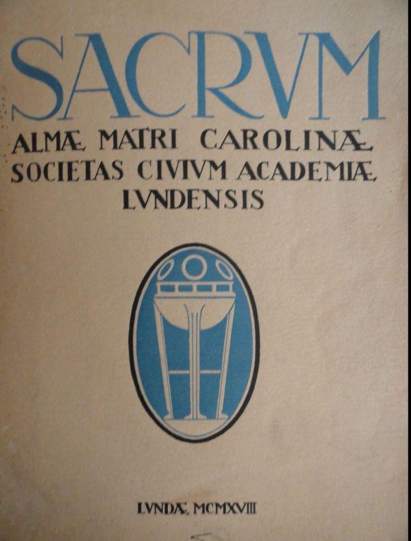 Portada de Sacrum. Universidad de Lund. 1928. editada por Ernst Norlinds. Foto R.Puig